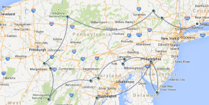 From Bridgeport (CT) to central Pennsylvania, Virginia,  Maryland, DC, then on ...